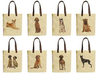 Chubby Dogs  Beige Printed Canvas Tote Bags Leather Handles WAS_30