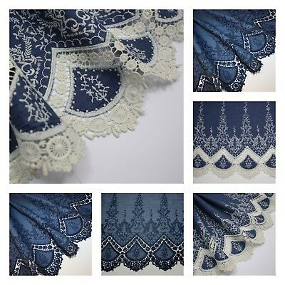 Embroidered / Broderie Anglaise / Lace Edged 100% Cotton Chambray Fabric denim