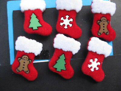 25mm Christmas Flocked Stocking Red White Green Sewing Buttons Set 6 scrapbook