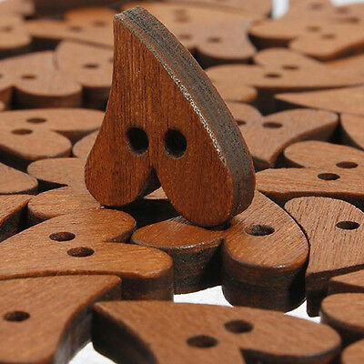 Brown Heart Shape Wooden Buttons 20mm - Pack of 5 - Sewing /Scrapbooking /Craft