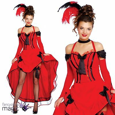 8950706fe14 Ladies Red Can Can Burlesque Moulin Rouge Saloon Wild West Fancy Dress  Costume
