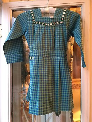 Vintage 1940 Girl'sFrench School Apron smock Plaid green/blue Old stock New like