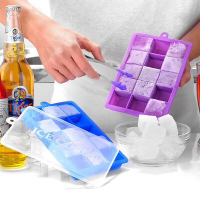 15 Hole Silicone Ice Cube Mold Tray with Square-shape Lid DIY Ice Jelly Moulds