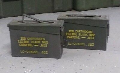 LOT OF 2 US Military Surplus Ammo Cans 7.62 30 cal M19A1 10 x 3.5 x 7 FREE SHIP
