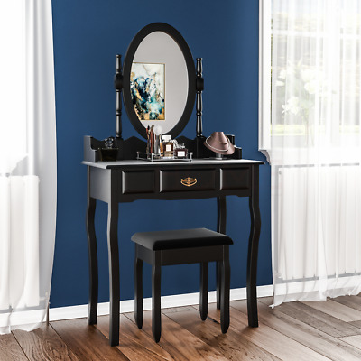 Nishano 1 Drawer Dressing Table Black Bedroom Stool Mirror Makup Desk Dresser