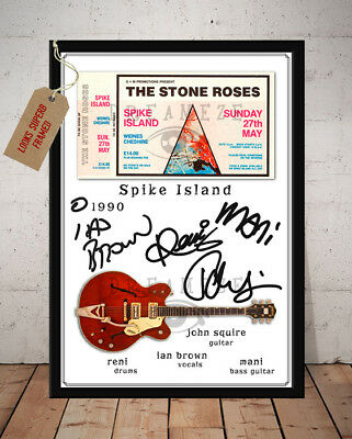 The Stone Roses Spike Island 1990 Ticket Autographed Stub Signed Photo Print