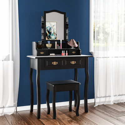 Nishano 4 Drawer Dressing Table Black Bedroom Stool Mirror Makup Desk Dresser