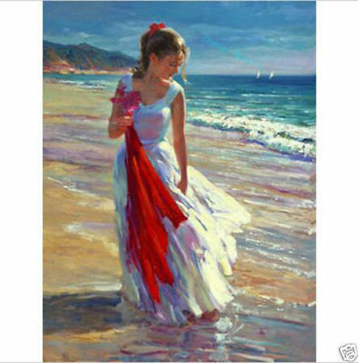 CHOP572 comely long dress girl seaside hand painted oil painting on canvas art