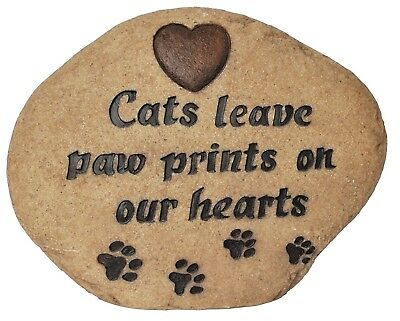 Vivid Arts Cat Memorial Stone In Natural Stone Colour Paw Prints