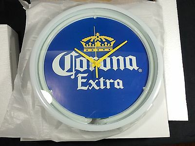 "Corona Extra Beer Neon Clock Lighted Sign 12"" New! Tiki Bar Pub Man Cave"
