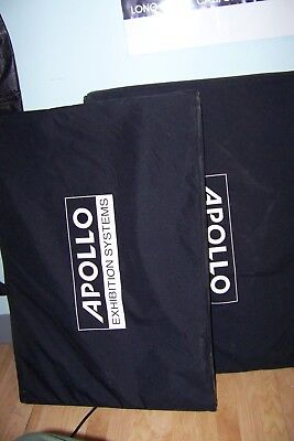 Lot of 2 Apollo 3 Panel Table Top Tradeshow Displays with Carry Cases