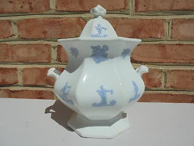 Old Antique Chelsea Ware Lg Cov Sugar Bowl w Female Figures Grandmother's Ware