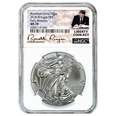 2018-W Burnished $1 American Silver Eagle NGC MS70 Liberty Coin Act ER Label