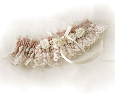 Blush Pink Cream Lace Roses Pearls BRIDAL WEDDING PERSONALIZED GARTER