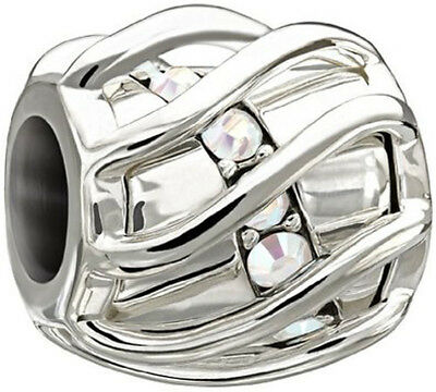 Authentic Chamilia Sterling Silver Enchanted Spiral Clear Swarovski 2025-0894