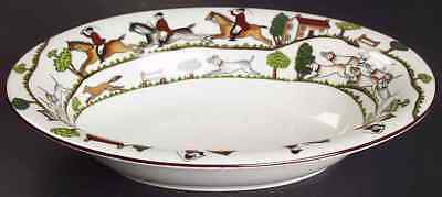 Crown Staffordshire HUNTING SCENE Oval Vegetable Bowl 95202