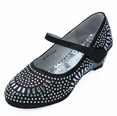 Girls Black Diamante Wedges Party Fancy Dress Dolly Childrens Shoes Sizes 8-2