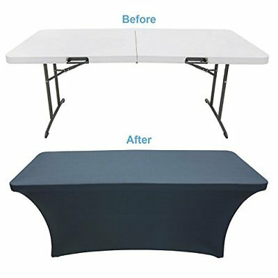Black Table Cloths Fitted Tablecloth Cover 6 ft Rectangular Skirts Elastic
