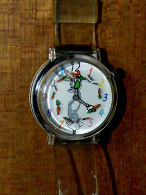 Armitron #2200/57 Rare 1994 Bugs Bunny w/Carrots Watch Analog Dial clear band