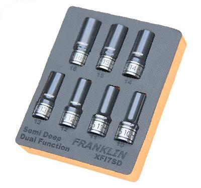 "Franklin Tools XFI7SD XF 7pc 6pt Semi Deep Thin Wall Impact Socket Set 1/2"" Dr"