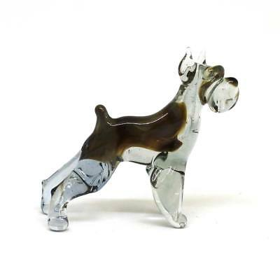 Middle blown glass figurine Dog - Schnauzer Russian Murano Handmade #151