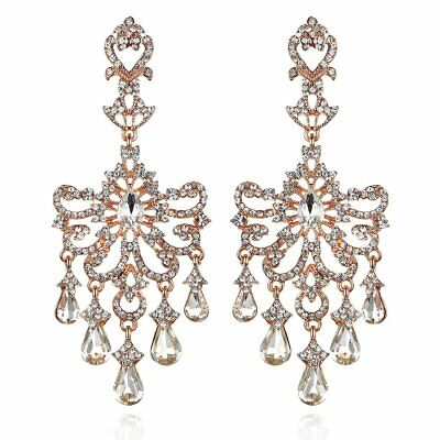 Huge Victorian Austrian Crystal Drop Chandelier Dangle Earrings E2097R Rose Gold