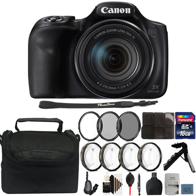 Canon Powershot SX540 HS 20.3MP Digital Camera 50X Optical Zoom with 16GB Kit