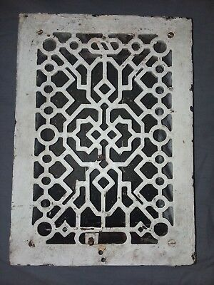 Antique Cast Iron Floor Wall Heat Grate 12x8 Louvres Victorian Design 101-18F