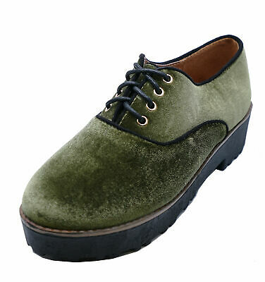 Ladies Flat Green Faux-Velvet Lace-Up Brogues Creepers Platform Shoes Sizes 2-8