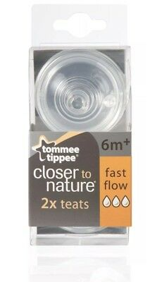 8 X Tommee Tippee Closer To Nature FAST Flow Teats 8 Pack 4x2 Baby Bottle