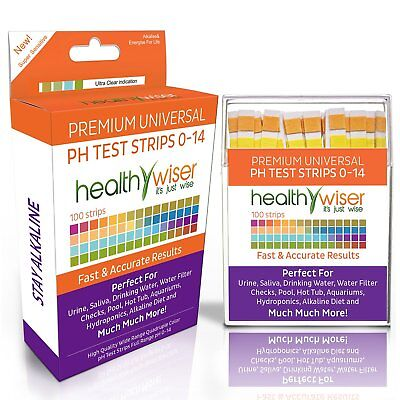 pH Test Strips 0-14, Universal Application, Results in Seconds, 100-Count
