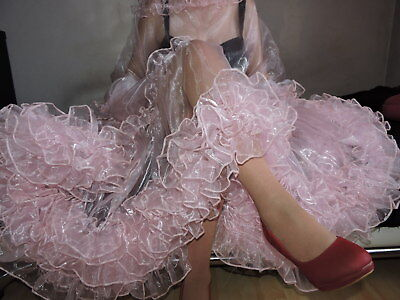 Traumfrau Hollywood Nachtkleid transparent Nylon Negligee rosa XL Sissy