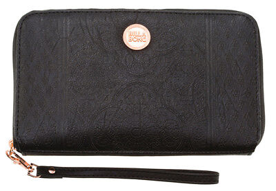 New +Tag Billabong Floyd Womens Girl Zip Around Wallet Clutch Purse Black Travel