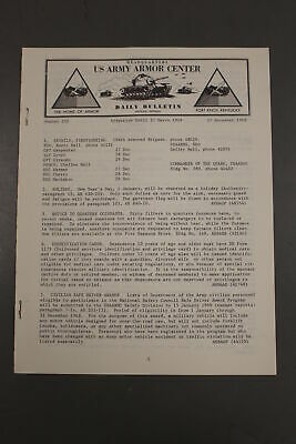 US Army Armor Center Daily Bulletin Official Notices, No 252, December 27, 1968