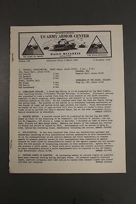 US Army Armor Center Daily Bulletin Official Notices, No 238, December 6, 1968