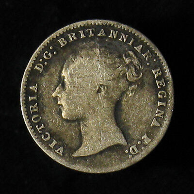 1850 Great Britain Three 3 Pence silver coin KM# 730 scarce