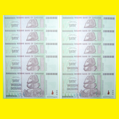 10X Zimbabwe 50 Trillion Dollars | Crisp Clean Banknotes! 100% Genuine!