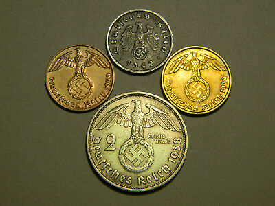 *ULTRA RARE* 4 WW2 Coin 2 RM Marks Reichsmark Silver German Lot