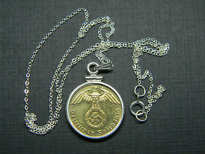 Necklace German 1939 Gold Plated 1 Pfennig 925 Sterling Silver Chain 18""