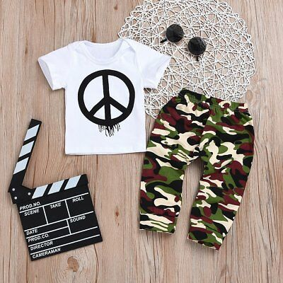 d6524a5af TODDLER KIDS BABY Boy Outfits Clothes T-shirt Tops+Camo Pants Trousers 2PCS  Set - $6.99 | PicClick