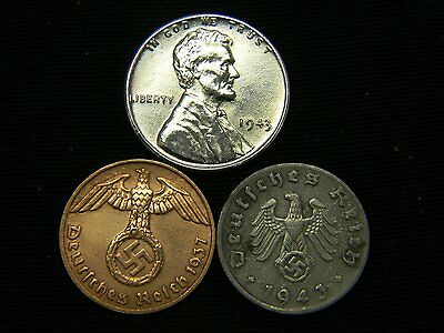 AU 1943 Steel Cent + WW2 Authentic German US Coin Lot