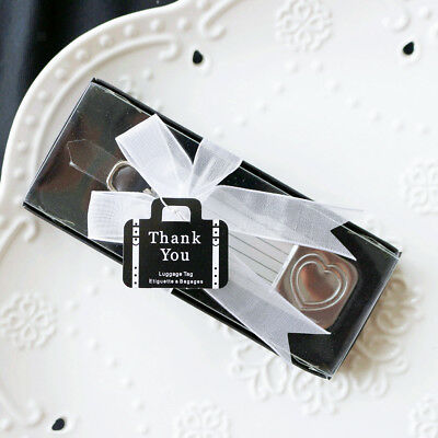 Mini Rectangle Heart Suitcase Luggage Tag Wedding Bridal Shower Gift Favor