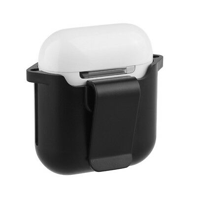 For Apple Airpods Protector Bumper Case Belt Clip Holster Charging Box Black