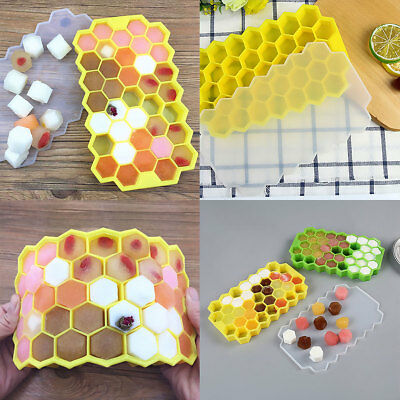 37 Silicone Honeycomb Ice Cube Tray Molds with Lid Jelly Coffee Candy Mould 2x