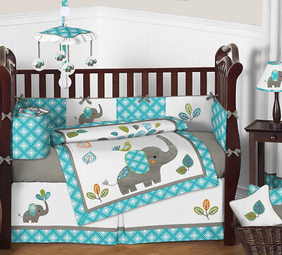 turquoise blue and grey sweet jojo jungle elephant for baby crib