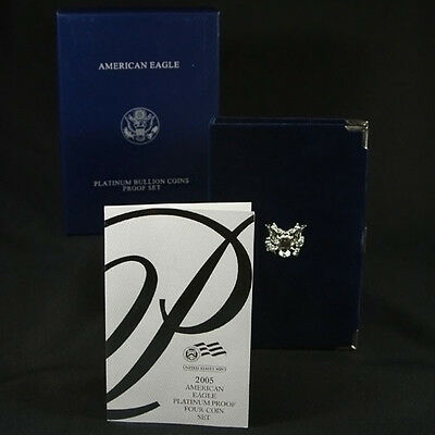 2005-W 4 Coin Proof Platinum American Eagle Box OGP & COA No Coins