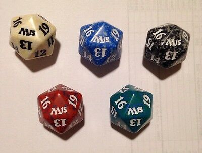 Set of 5 Magic the Gathering (MTG) M15 20 sided Spindown Life Counters / Dice