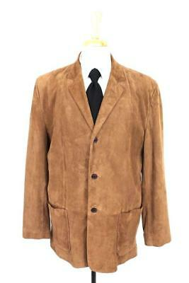 mens brown GENUINE SUEDE LEATHER coat jacket retro vintage inspired casual LARGE