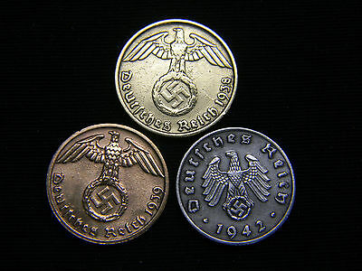 Rare! Authentic 1937-1945 WWII German Brass Bronze & Zinc Currency Coins Lot.