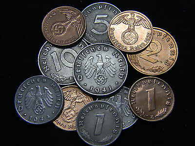 Lot of Two (2) Circulated Rare German Coins from WW2 1937-1945 Era.
